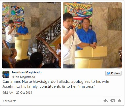 Camarines Norte Governor Edgardo Tallado Apologizes for Controversial Sex Photos