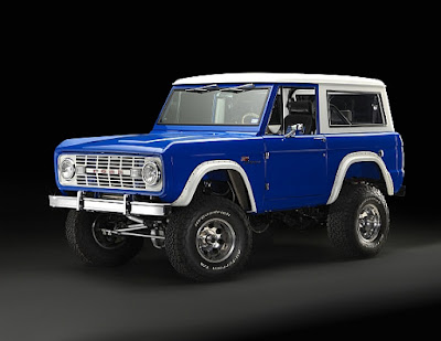 A blue and white 1966 Ford Bronco resto-mod