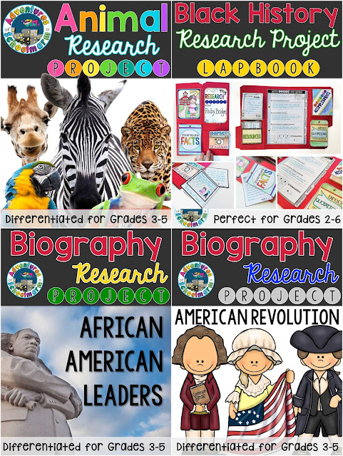 differentiated elementary research projects animal research project black history research project biography research project lap book research project