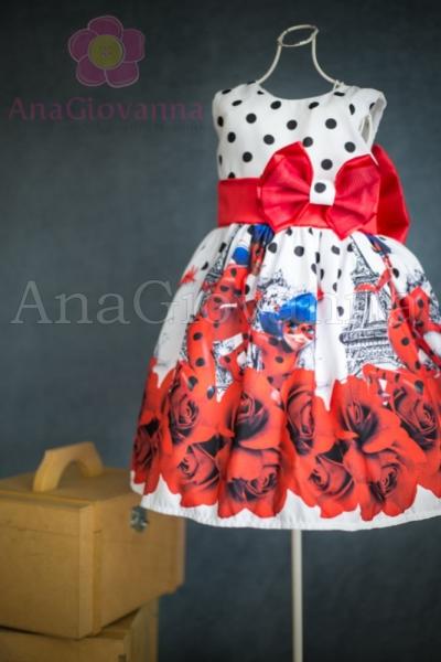 vestido para crianças com estampas de bolinhas Lady Bug
