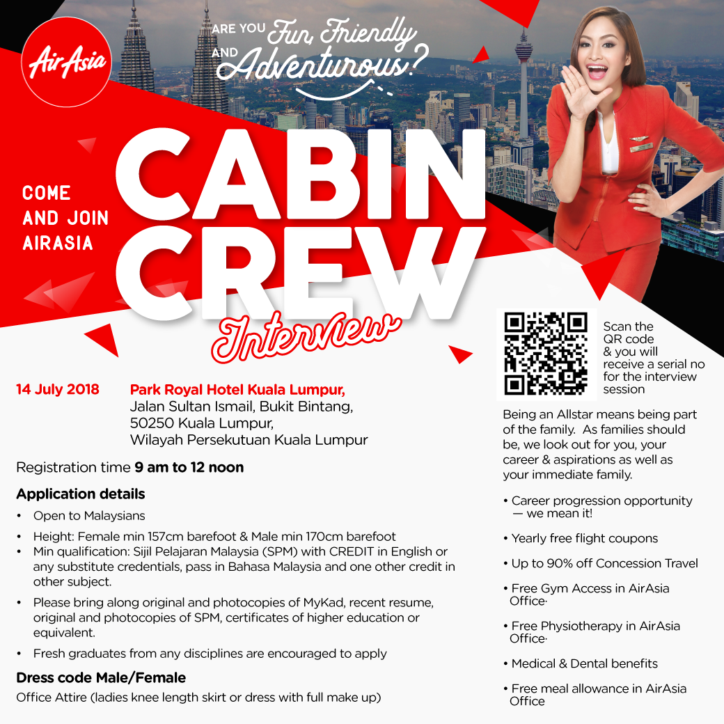 fly gosh: air asia cabin crew recruitment - walk in interview ( july