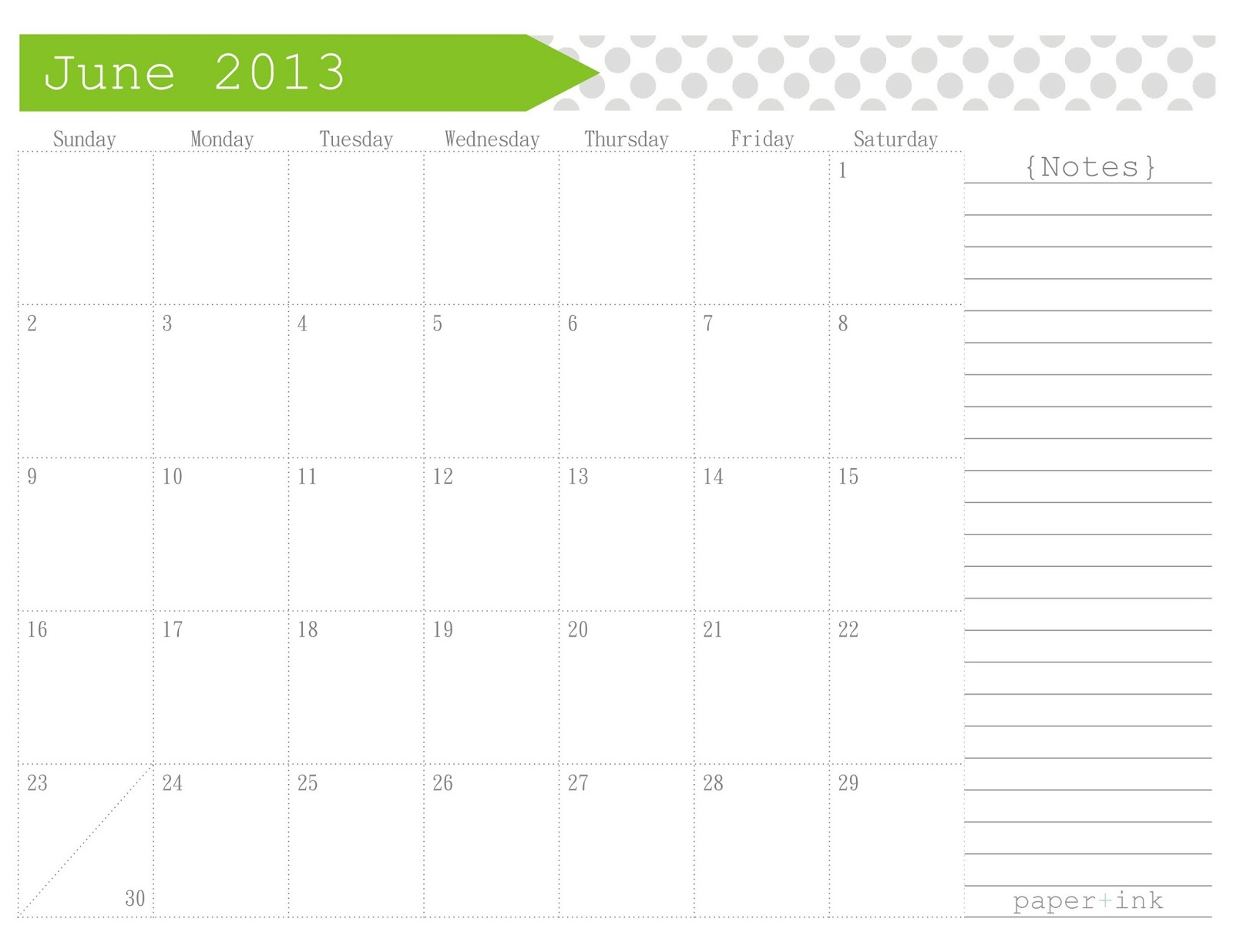 Free Printable Calendars: June / July 2013