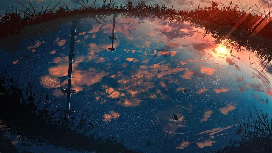 Anime, Water, Reflection, Scenery, 4K, #6.985
