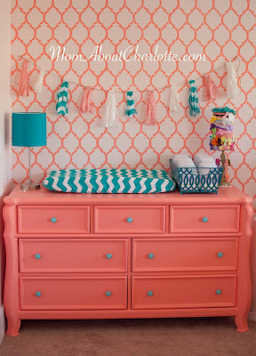 Gold coral teal nursery get the look mom about charlotte for Upholstery fabric for baby nursery