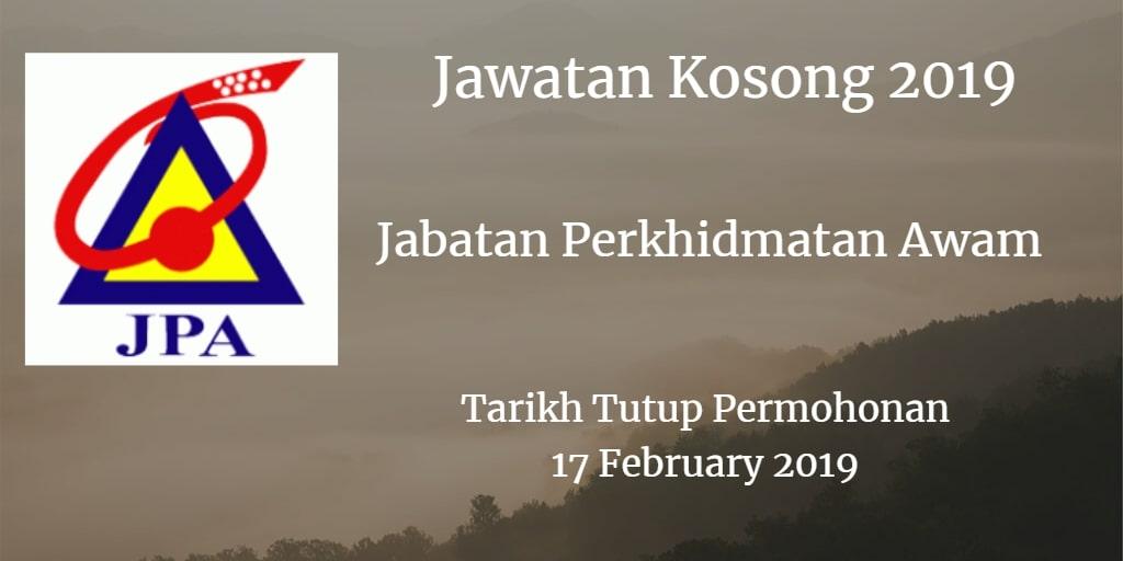 Jawatan Kosong JPA 17 February 2019