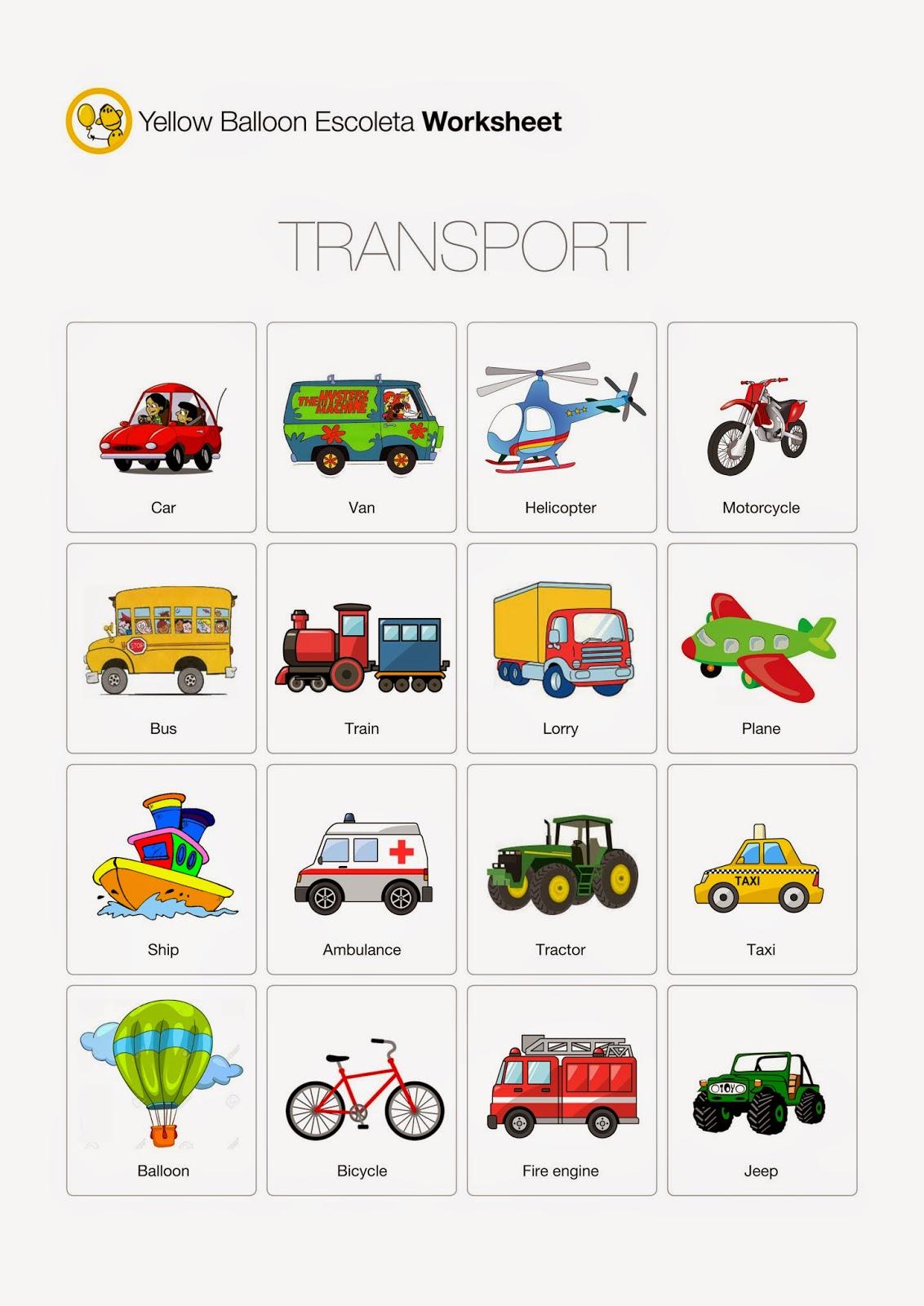 Yellow Balloon Escoleta Transport Worksheet
