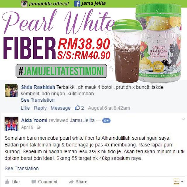 Testimoni Pearl White Fiber Jamu Jelita