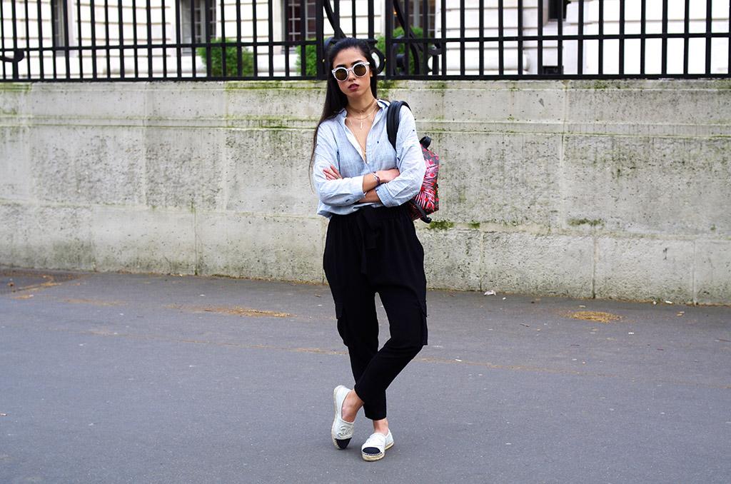 Elizabeth l  Tropical prints outfit l Stradivarius bomber jacket Zara cactus shirt Mango cargo pants Chanel espadrilles Louis Vuitton backpack l THEDEETSONE l http://thedeetsone.blogspot.fr