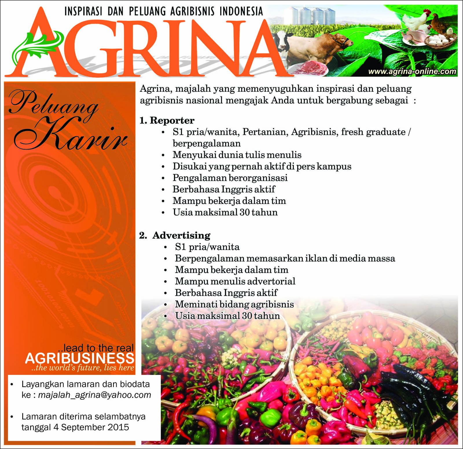 Lowongan Tabloid Agrina Peluang Karir Di Majalah Agrina Informasi