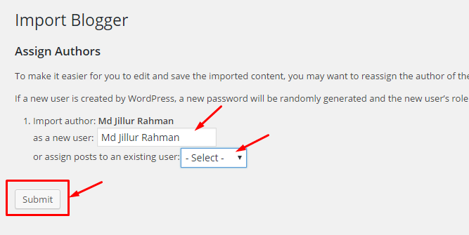 Select Author for Posts