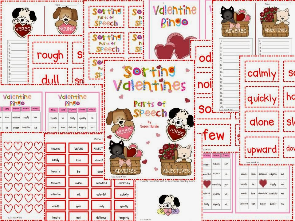 http://www.teacherspayteachers.com/Product/Sorting-Valentines-Parts-of-Speech-Center-Activity-and-Bingo-Games-197689