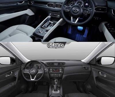 マツダ・CX-5 日産・エクストレイル 内装インテリア 比較画像