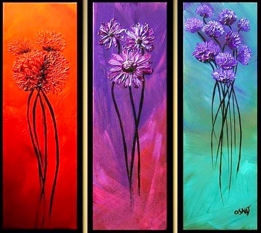Cuadros modernos pinturas y dibujos cuadros de flores en - Pintar con acrilicos paso a paso ...