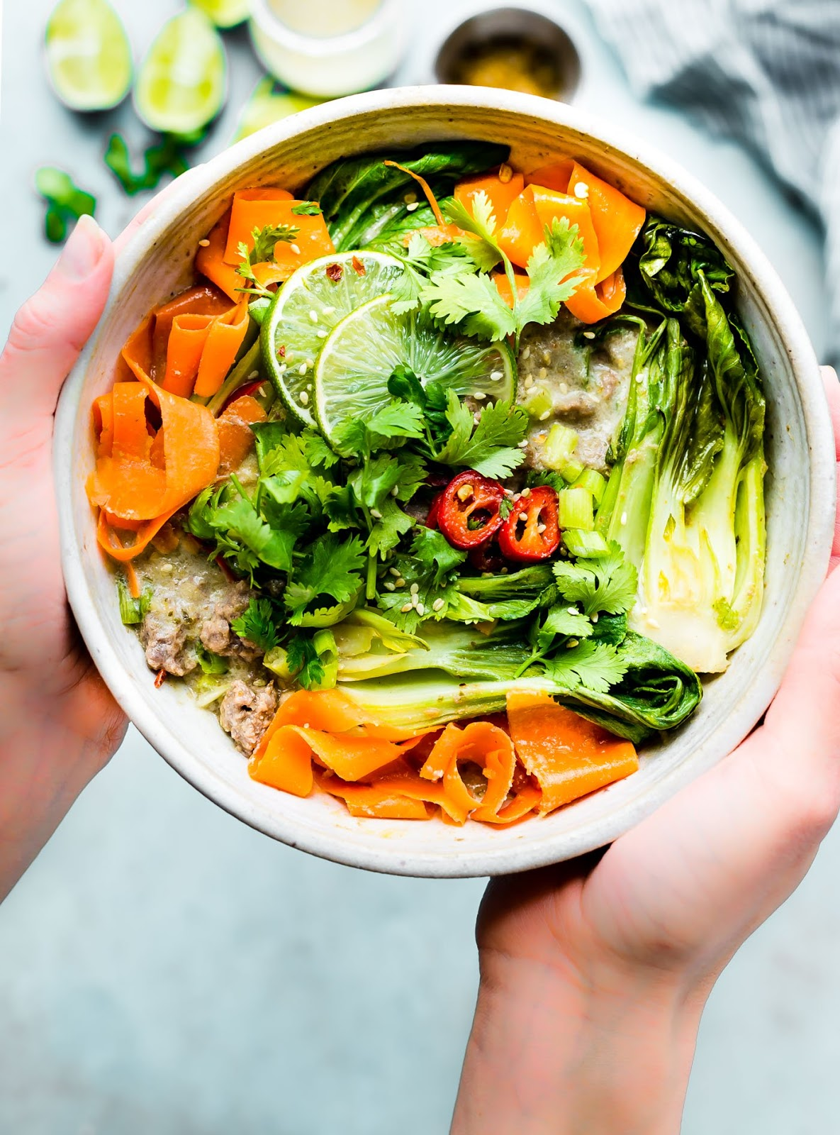 Beef Curry Bowls Thisbowl recipe is for both the meat eater and vegetarian palate! A one potgreen curry beefrecipe that's quick to make and flavorful!