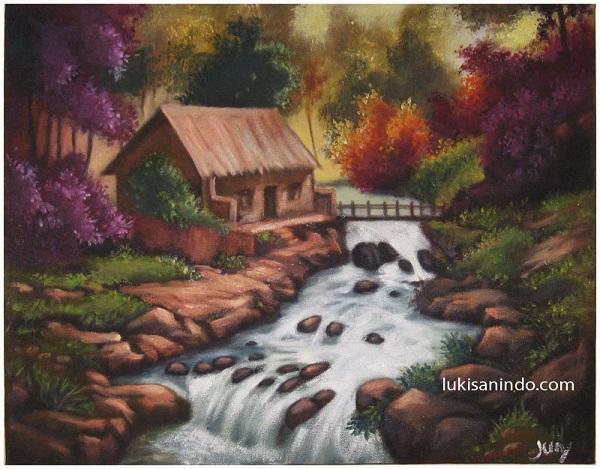 Lukisan Rumah Di Tepi Sungai