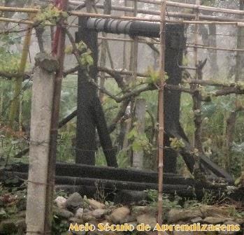 Sarilho de poço para elevação de água ainda em funcionamento