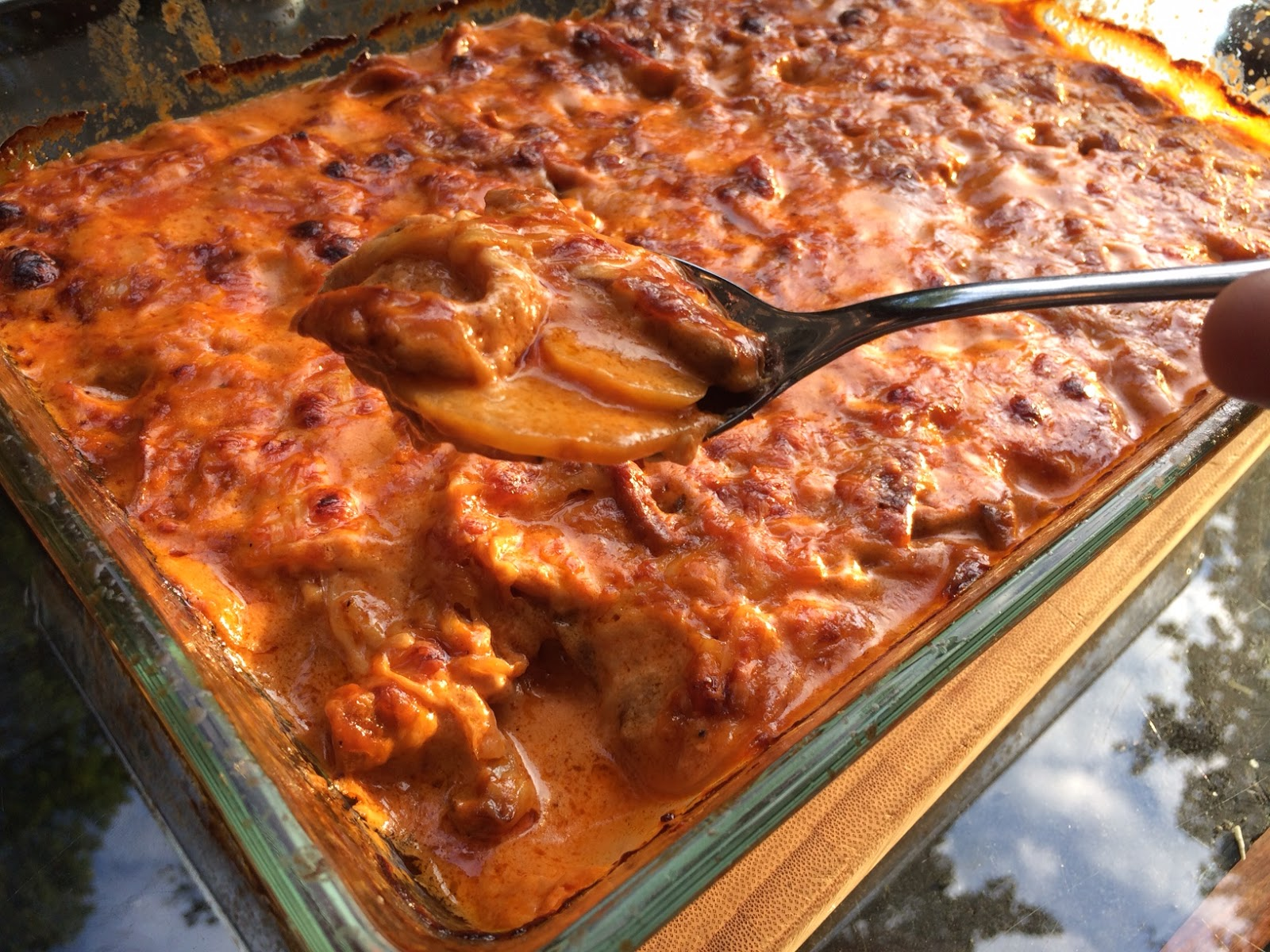 Kulinarisches Tinobien Kartoffel Pilz Auflauf In Tomaten Weißwein Soße