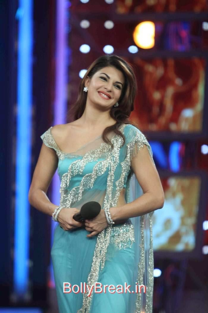 Jacqueline Fernandez Photo Gallery, Jacqueline Fernandez Hot Pics In Blue Saree from Roy Movie Promotions On Big Boss 8