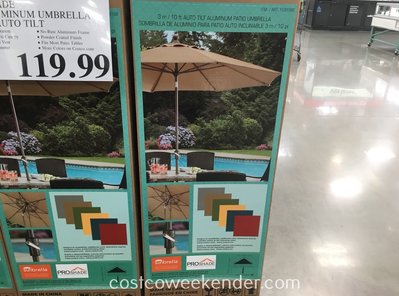 Costco 1031592 - ProShade 10ft Auto Tilt Aluminum Patio Umbrella - Get ready for the sun with some shade
