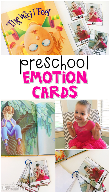 Read about different emotions, then practice each and make a photo flip book to practice emotion vocabulary. Great for tot school, preschool, or even kindergarten!