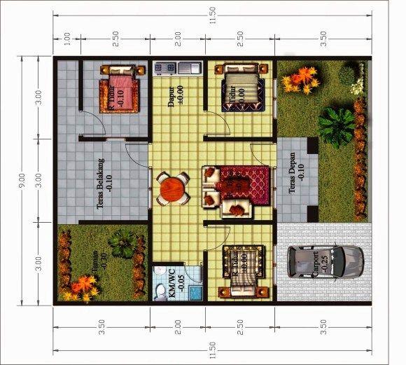 Contoh Gambar Denah Rumah 3 Kamar Tidur Type 36