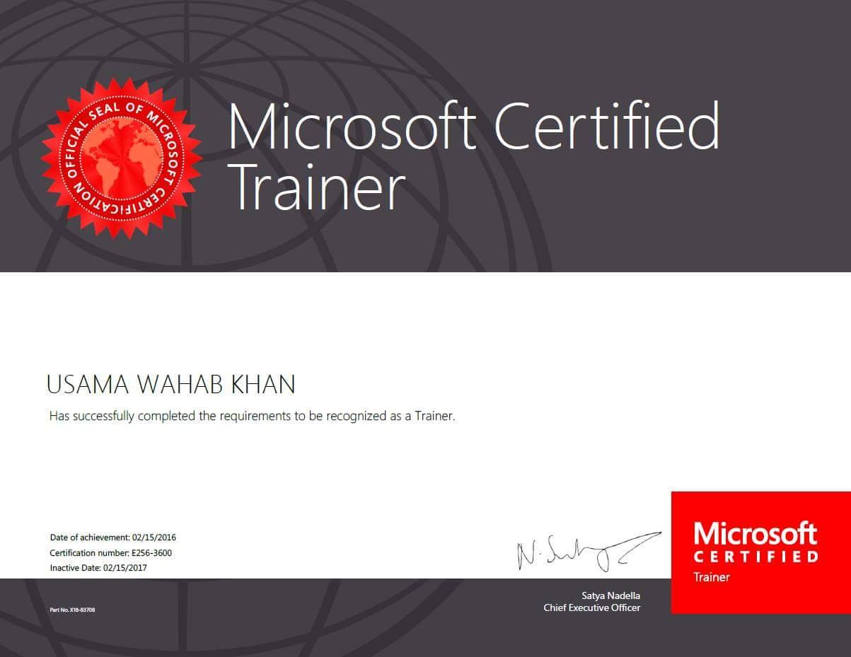 Usama wahab khan welcome to usama wahab khan learn free microsoft certified trainer mct 2017 1betcityfo Image collections