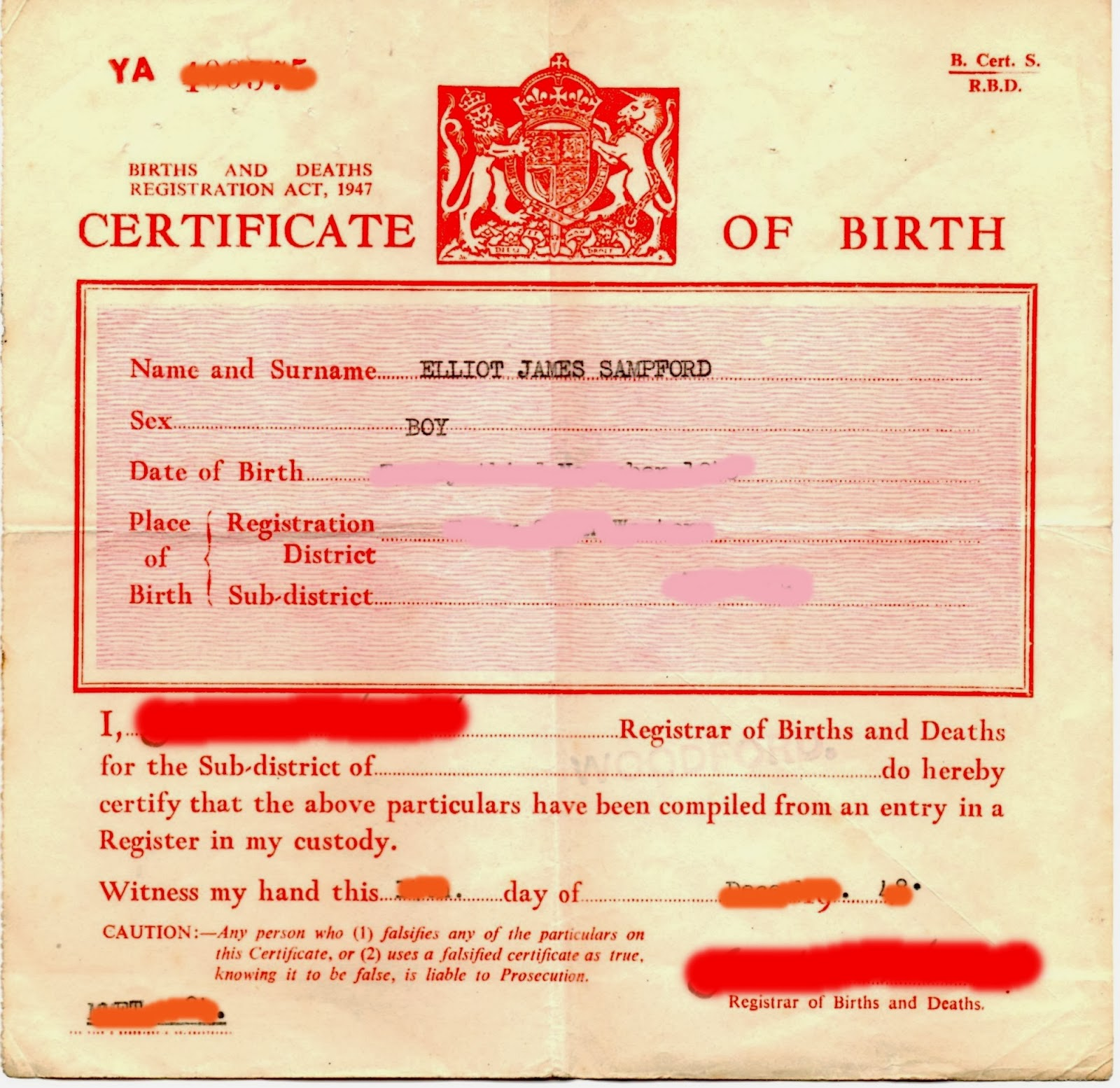 Elliot Sampford: Short-Version Birth Certificates Hide The
