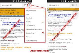 Tampilan Situs Mobile UNG dan Komputer