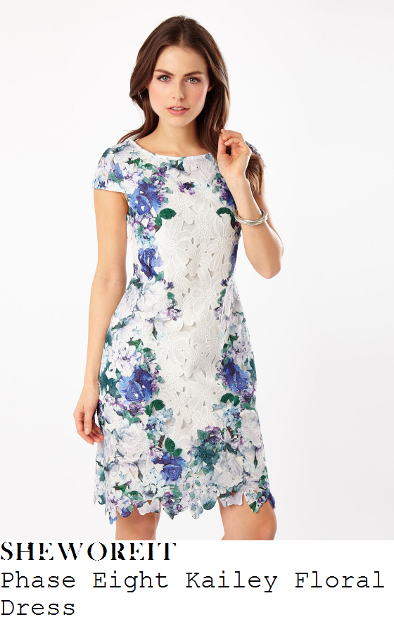 susanna-reid-phase-eight-kailey-cream-blue-white-green-floral-print-lace-overlay-shift-dress