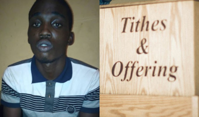 Police arrests 18-year-old for stealing Tithes and Offerings in Lagos church (photo)