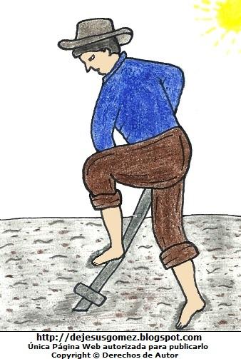 Dibujo de un campesino trabajando bajo el sol  (Hombre campesino arando la tierra). Dibujo del campesino hecho por Jesus Gómez