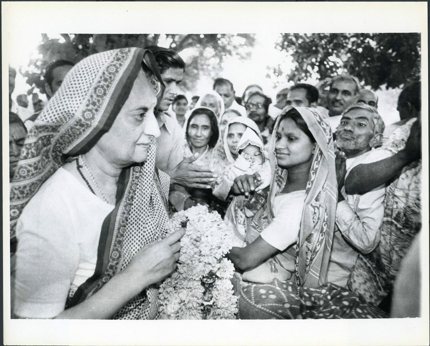 Indira Gandhi, Former Prime Minister of India, is greeted by admiers in New Delhi on her 63rd birthday (November 19). There are elections in India in January and Mrs. Gandhi is seeking to regain her old post - 1979