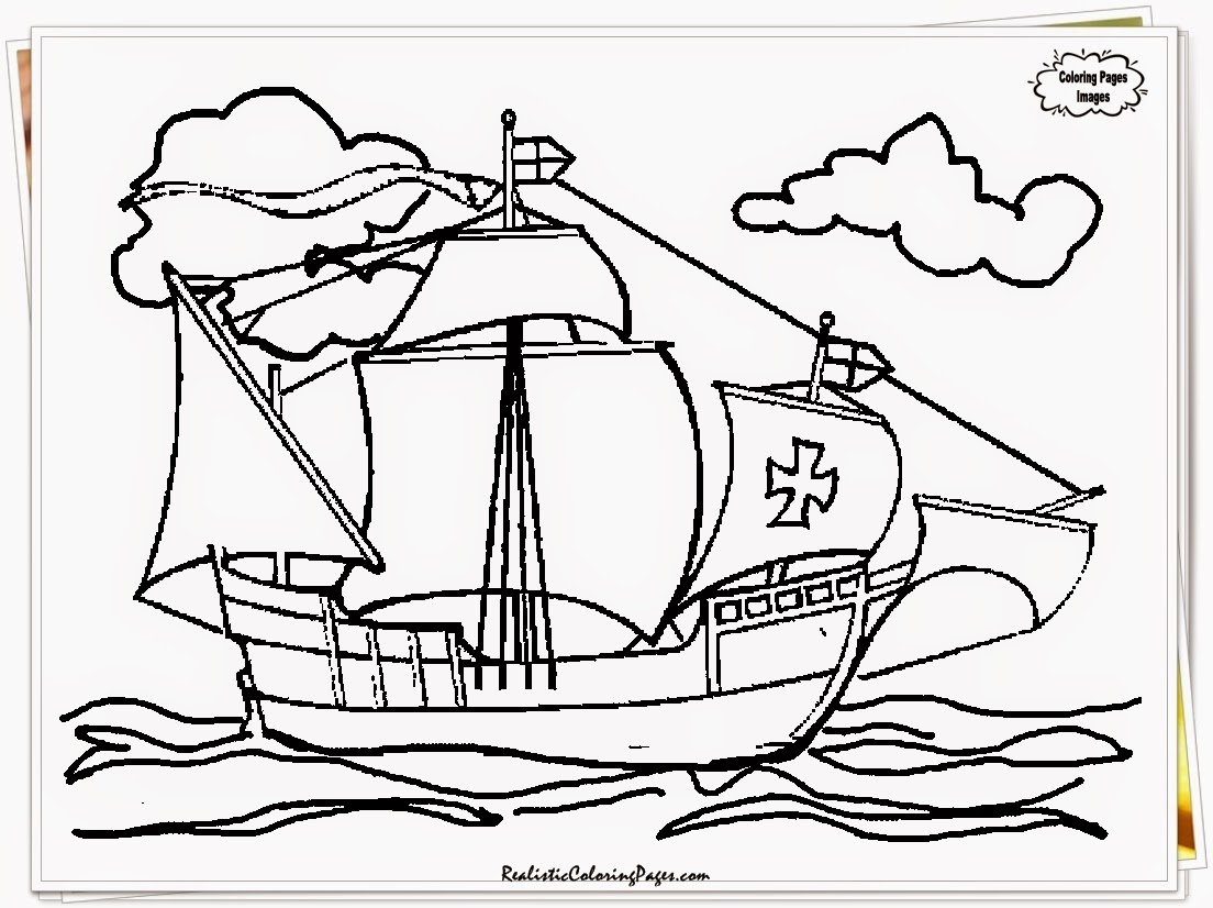Columbus Three Ships And Big Coloring Pages Coloring Pages