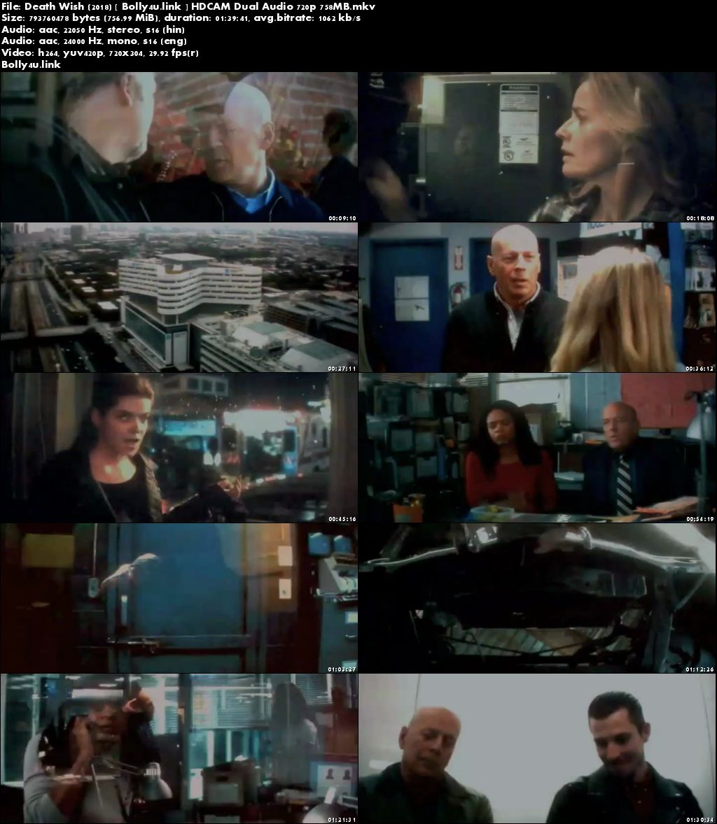 Death Wish 2018 HDCAM 300MB Hindi Dual Audio 480p Download