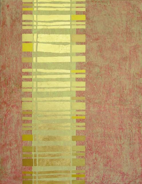 Abstrakte Malerei, Motiv Barcode, Moderne Kunst mit Acryl und Blattgold