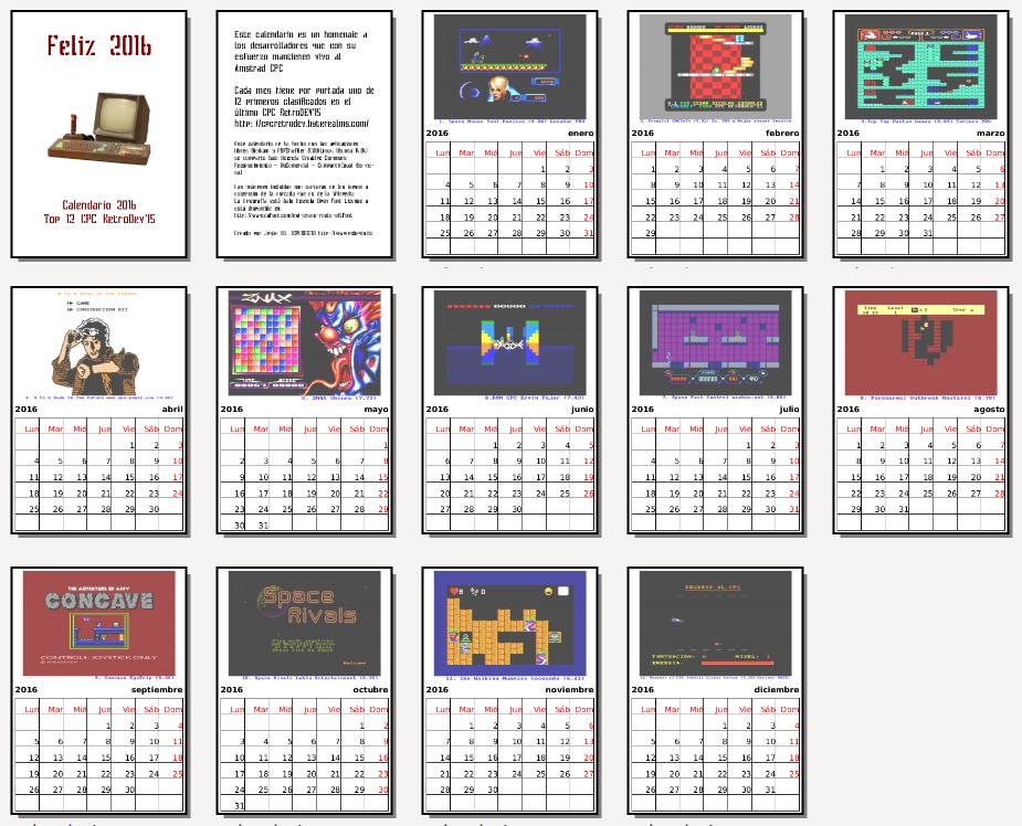 Calendario 2016 CPC RetroDev
