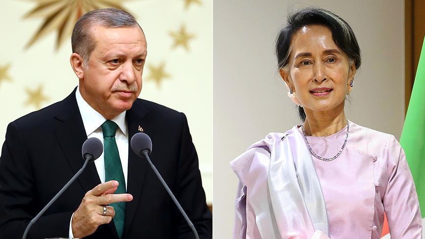 في اتصال هاتفي.. أردوغان يبحث قضية الروهنغيا مع زعيمة ميانمار