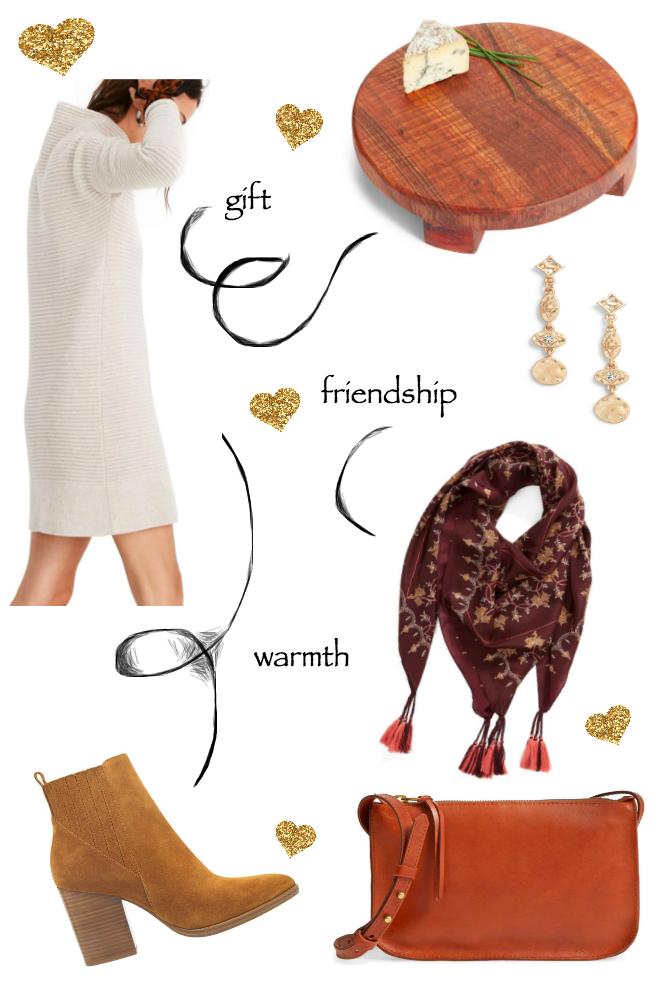 Easy friendsgiving outfit, dress, booties, silk scarf, gold earrings, cheeseboard and crossbody