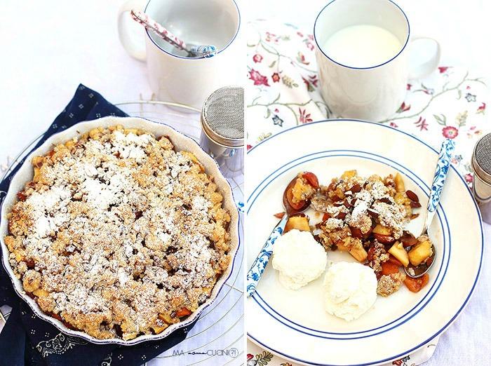 crumble di ciliegie, nespole e mele con gelato alla panna