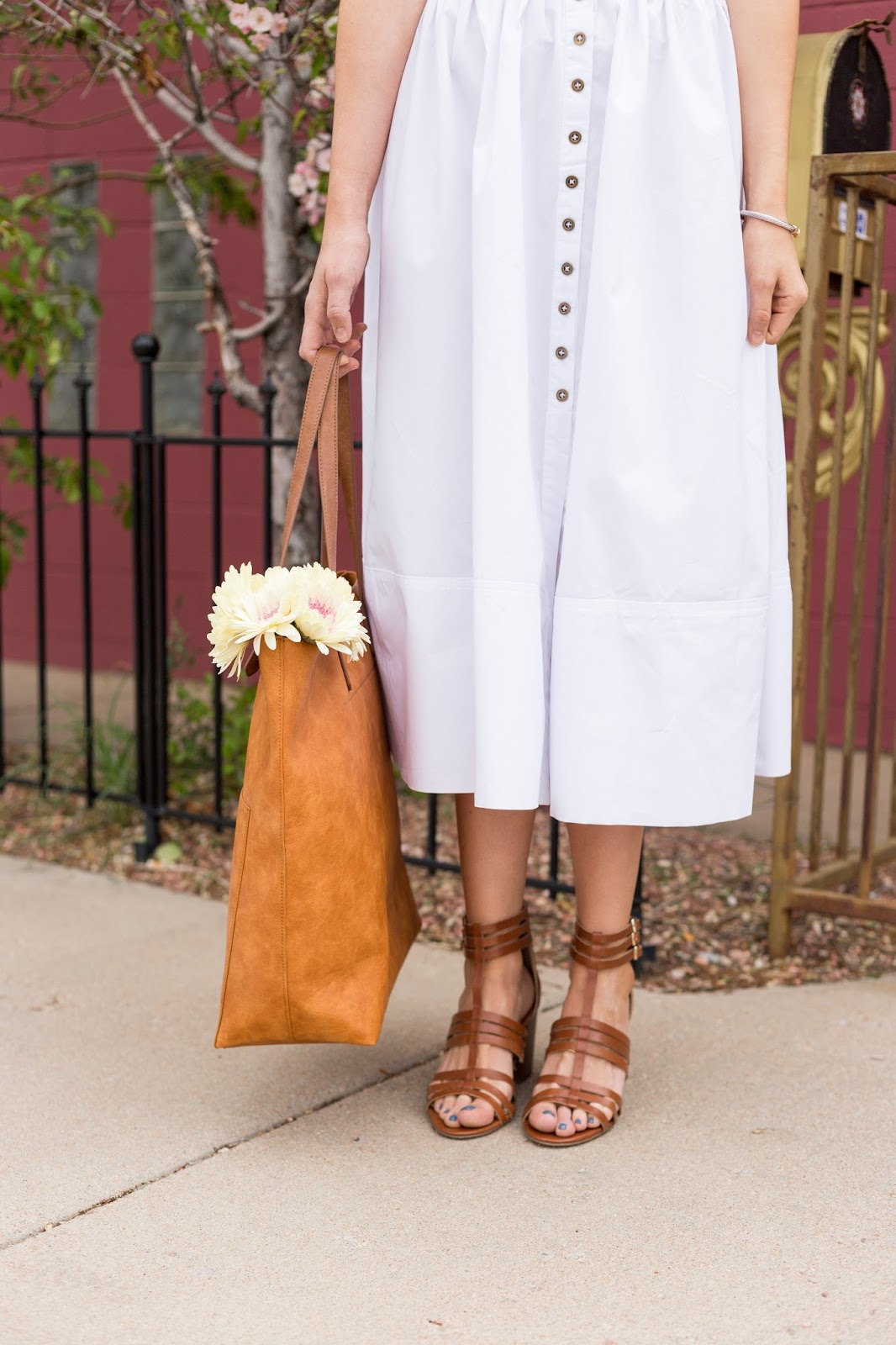 Love this white dress with these caged sandals!