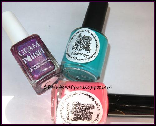 Glam Polish: Ecstsy; El Corazón stamping polishes: Emerald and Peach Echo