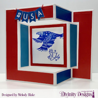 Divinity Designs Stamp Sets: Patriotic Eagle 1, Patriotic Pennants,  Custom Dies: Alphabet Flags, Double Stitched Squares, Tri-Fold Card with Layers, Paper Collection: Old Glory