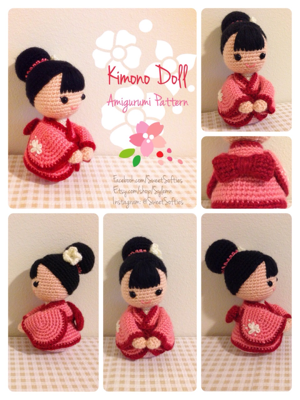 HandmadeKitty: Japanese doll kokeshi amigurumi Crochet pattern | 1280x960