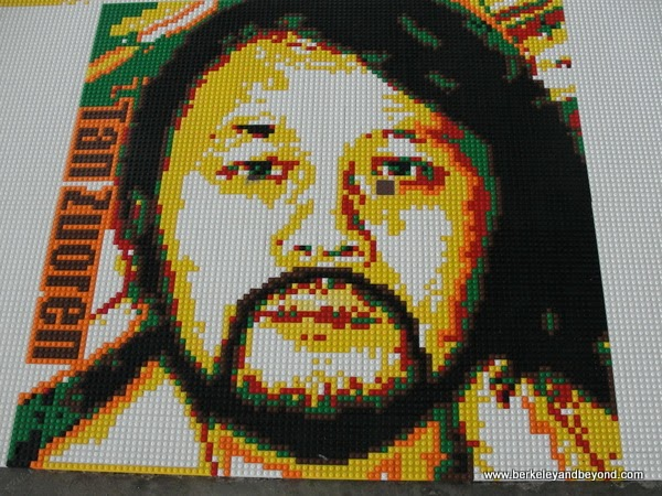 closeup of Tan Zuoren portrait in Tace Lego work at Ai Weiwei exhibit at Alacatraz in San Francisco