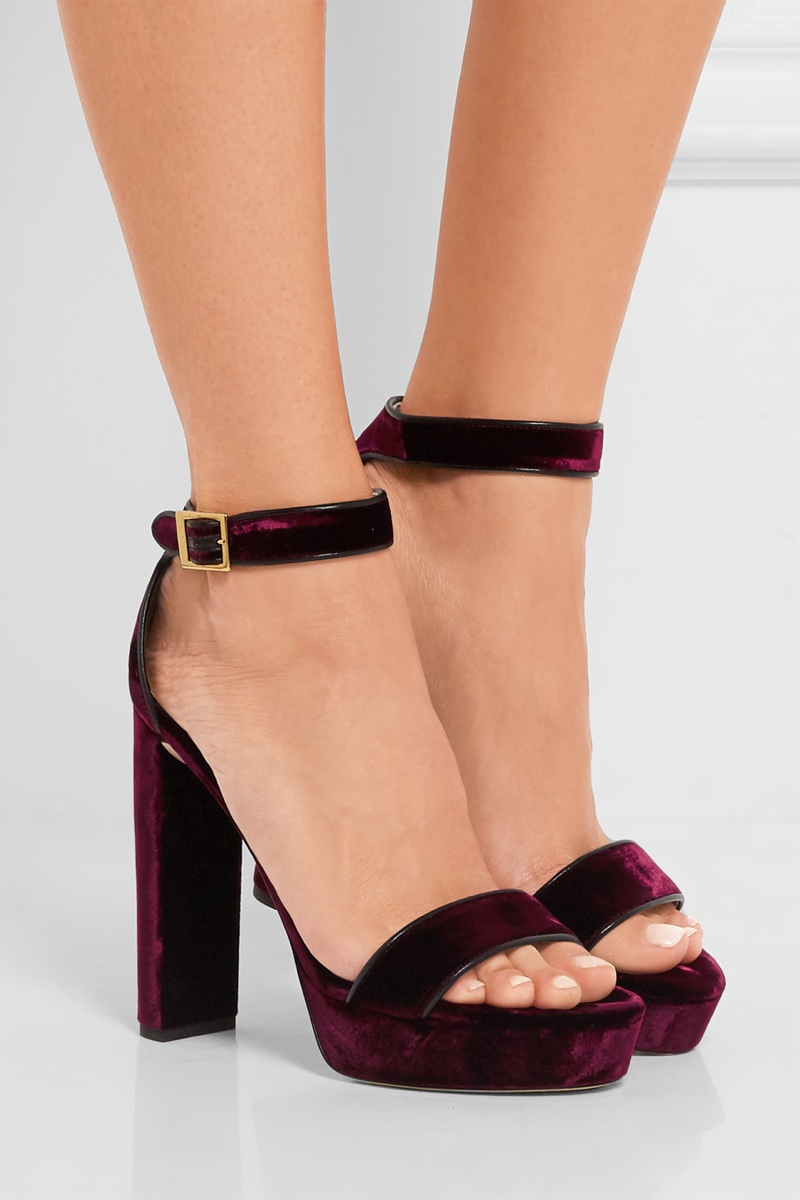 Jimmy Choo Holly Leather Trimmed Velvet Platform Sandals