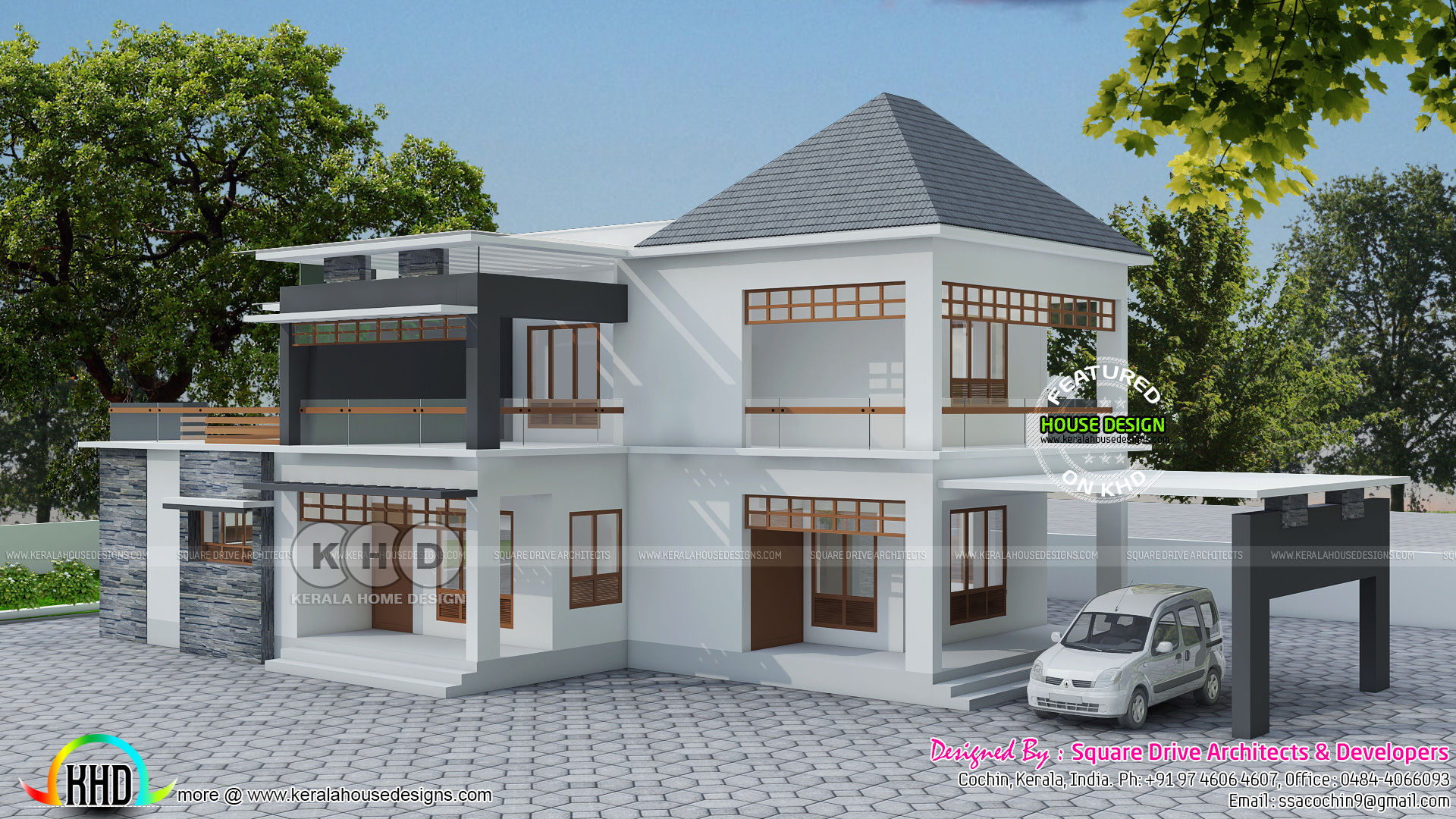 Modern 4 bhk residence plan kerala home design and floor for 4 bhk villa interior design