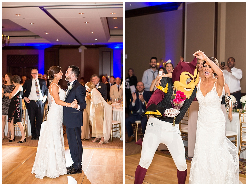 ASU Sparky mascot crashes ballroom wedding reception with the bride at Omni Montelucia