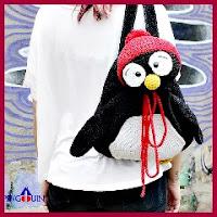Mochila pingüino a crochet
