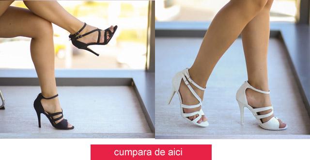 Sandale cu toc inalt elegante de ocazii / de zi albe, negre online
