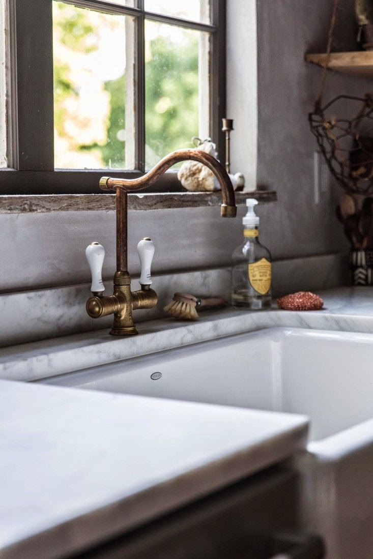▻ kitchen faucet : rapture unlacquered brass kitchen faucet